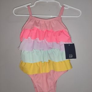 NWT Baby Gap Ruffled Swimsuit Bathing Suit 6-12